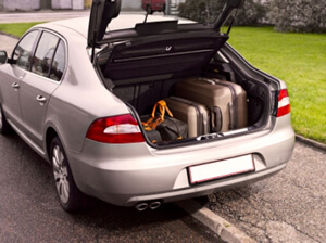 car with luggage for child relocation photo