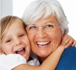 photo divorced woman on social security with grandchild