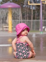 photo baby girl needing child support at water park
