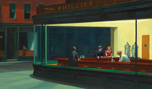 1942 edward hopper painting with couple meeting at all-night diner