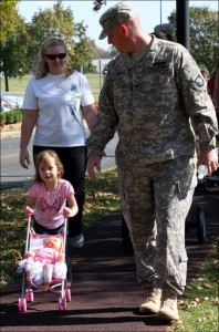 Photo: Little girl strolling with Mom and service member Dad at Fort Campbell.