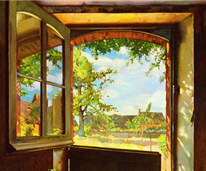 Image: segment of Konstantin Somov's painting, The Open Window