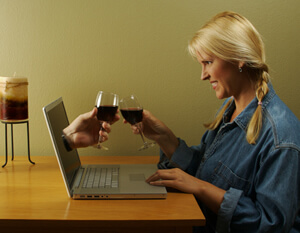 photo: woman toasts her internet marriage match